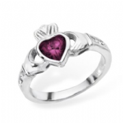 Sterling silver rubover set Amethyst claddagh ring